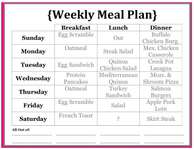 Weekly Meal Plan Handout